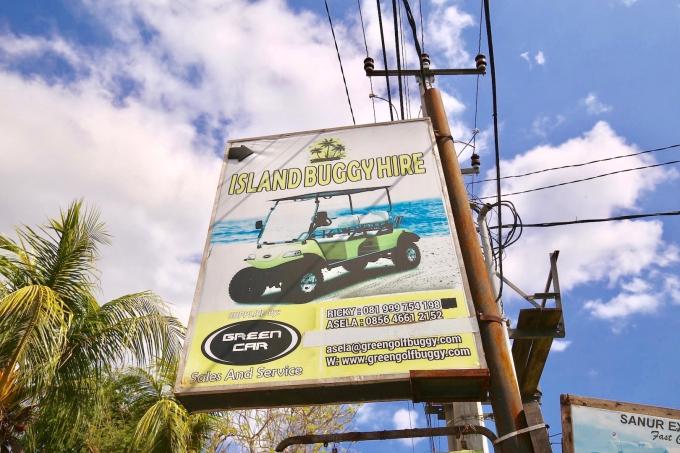レンボンガン島のカーチャータ―の看板