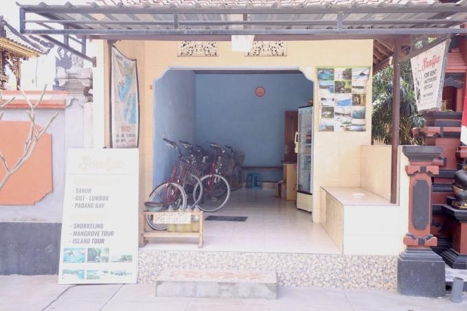 レンボンガン島の自転車をレンタルするお店